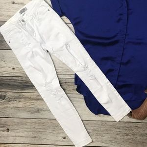White Released Hem Jeans